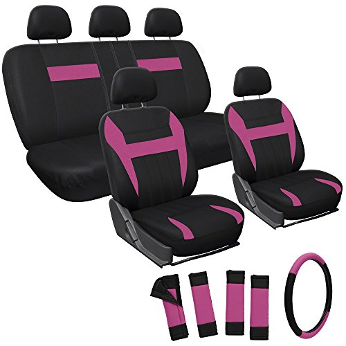 Oxgord 17pc Set Flat Cloth Mesh / Pink & Black Auto Seat Covers Set - Airbag Compatible - Front Low Back Buckets - 50/50 or 60/40 Rear Split Bench - 5 Head Rests - Universal Fit for Car, Truck, Suv, or Van - FREE Steering Wheel Cover (Bucket Seat Covers Pink compare prices)