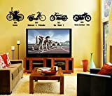 UberLyfe Bike Lovers Vintage Bike Collection Wall Stickers (Wall Covering Area: 140cm x 40cm)
