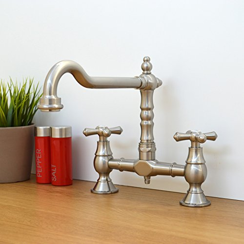 Traditional Colonial Bridge Kitchen Sink Mixer Tap Cross Knobs Handles Brushed Nickel LANGLEY