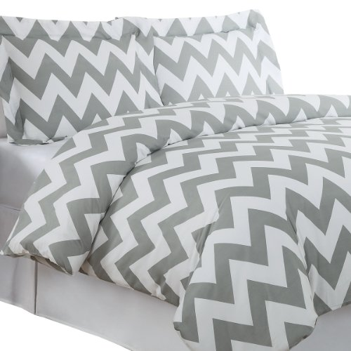Purchase Echelon Home Chevron Duvet Cover Set, Full/Queen, Feather Gray