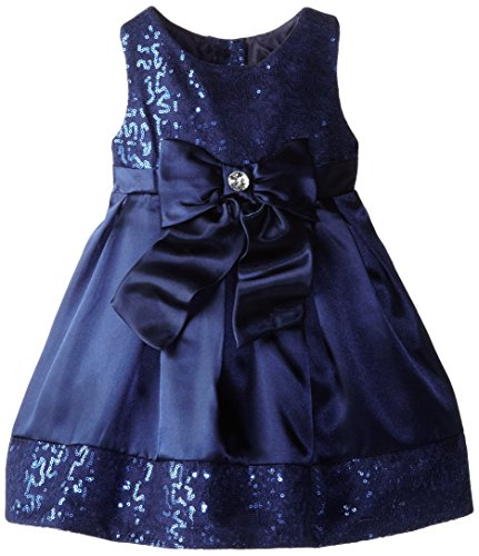 Youngland Little Girls' Bow Waist Occasion Dress, Navy, 2T