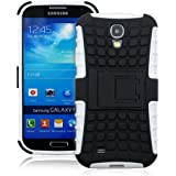 JKase DIABLO Series Tough Rugged Dual Layer Protection Case Cover with Build in Stand for Samsung Galaxy S4 SIV I9500 - Retail Packaging (White)