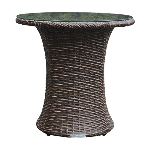 Brown-All-Weather-Synthetic-Outdoor-Rattan-Garden-Bistro-Table