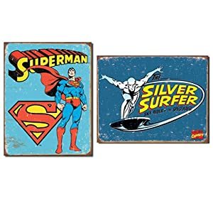 Nostalgic Superhero Tin Metal Sign Bundle - 2 comic book hero signs: Superman Retro & Silver Surfer Retro 0097
