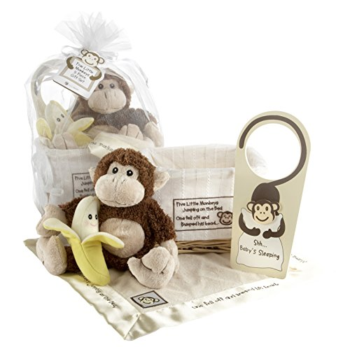 Baby Aspen Gift Set with Keepsake Basket Five Little Monkeys, Brown - 1