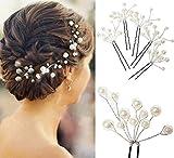 パール 髪飾り ヘッド ドレス ビジュー ヘアー アクセサリー アレンジ パーティー 結婚式 ウエディング (ヘアピン 5本セット W)