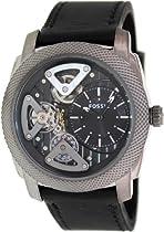 Fossil Machine Twist Leather Watch Grey Me1129