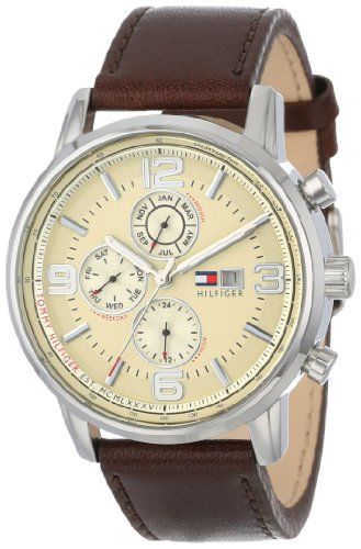 Tommy-Hilfiger-Mens-1710337-Stainless-Steel-Brown-Leather-Watch