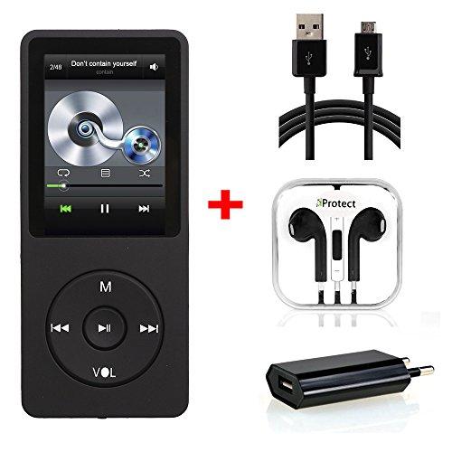 iProtect Set Lecteur MP3 16GB Musique-/Video Player jusqu'à 70 Heures de lecture avec fonction Radio et une carte mémoire 16GB Micro SD pour augmenter la capacité interne en noir
