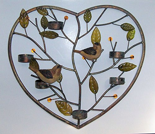 """Abc Products"" - Metal Heart Design ~ Votive Wall Hanger - Holds Tea Candles, Votvie Candles, And Other Candles (Accented With Leaves And Vines - With Two 3D Hand Painted Birds)"