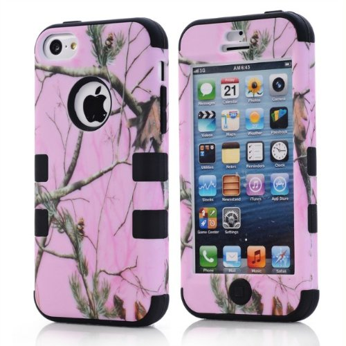 3 in 1 Triple Layer Hybrid Real Tree Camo Hybrid Hard Case Cover for iphone 5c with Stylus