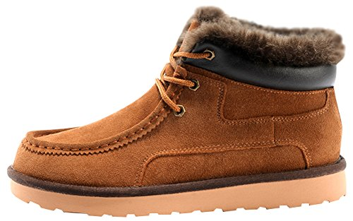 Rock Me Women's Thicker Wool Leather Flat Waterproof Ankle Snow Boots Unique III(11 B(M) US, Chestnut)