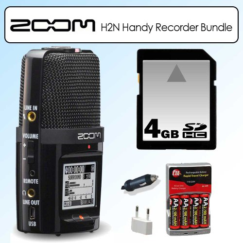 Zoom H2N Handy Recorder Digital Audio Musicians Recording Device Bundle