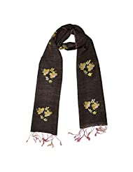Banna Tussar Matka Stole With Floral Kantha Work All Over - Brown