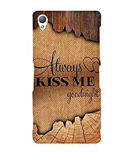Always Kiss me Good Night 3D Hard Polycarbonate Designer Back Case Cover for Sony Xperia Z3 :: Sony Xperia Z3 D6653 D6603
