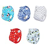 Alva Baby One Size Pocket Washable Bamboo Viscose Cloth Diapers Nappies 5Pcs (Neutral) 5Dm08