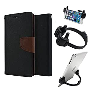 Aart Fancy Diary Card Wallet Flip Case Back Cover For Motorola Moto Xplay - (Blackbrown) + Flexible Portable Mount Cradle Thumb Ok Stand Holder By Aart store