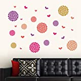 StickersKart Wall Stickers Flower Pattern Motifs (Wall Covering Area: 140cm x 90cm)