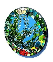 Mosaic Mirror Rose Garden. Round Flower Art Home Decor