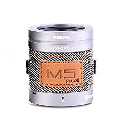Remax M5 Denim Mini Portable Surround Stereo AUX Audio NFC Wireless Bluetooth CSR 4.0 Speaker with Microphone for Android, iPhone, iPad (Silver)