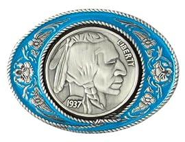 Pewter Belt Buckle - Indianhead Nickle - Pewter Belt Buckle