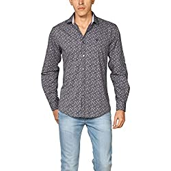 Provogue Men's Casual Shirt (8903522451362_103674-BL-181_X-Large_Navy)