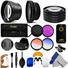 67MM Complete Kit for NIKON DSLR D7100 D7000 D5300 D5200 D5100 D3200 D90 D80 D70 with a 18-105MM, 18-140MM or a 70-300MM Zoom Lens - Includes 0.43x Wide Angle & 2.2x Telephoto HD Lenses + Remote Control + Vivitar Filter Kit (UV, CPL, FLD) + Vivitar Macro Close-Up Set + Tulip Lens Hood + Center Pinch Lens Cap + 52-67MM Step Up Adapter Ring - 2 Graduated Color Filters + Flash Diffuser Set + Deluxe Cleaning Kit + Lens Cleaning Pen + MagicFiber Microfiber Cleaning Cloth