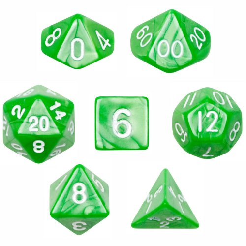 7 Die Polyhedral Dice Set - Imperial Gem (Marble Green) with Velvet Pouch By Wiz Dice
