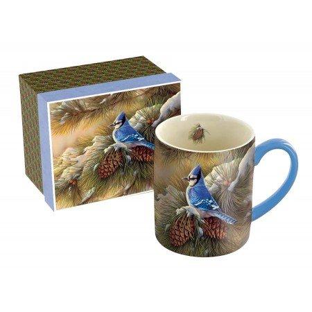 LANG December Blue Jay Mug, 14-Ounce