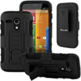 Moto G Case CellJoy® [Future Armor] Hybrid Ultra Fit Full Body Protection Holster **Kickstand** [Locking Swivel Belt Clip Holster Combo] - Robot Case Cover For Motorola Moto G 1st Gen XT1032 (Stealth Black)