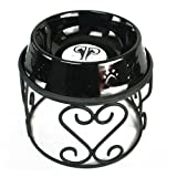 Platinum Pets Scroll Single Diner Stand with 6.25 Cup Embossed Non-Tip Stainless Steel Bowl, Midnight Black
