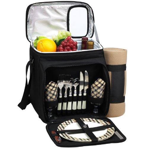 Picnic At Ascot London Collection Picnic Cooler For 2 With Blanket, Black
