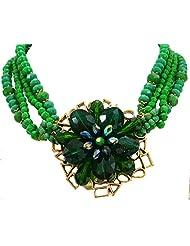 Bid4Desire Green Crystal Pendant Beads Crystal Flower Pendant Neckpiece For Women