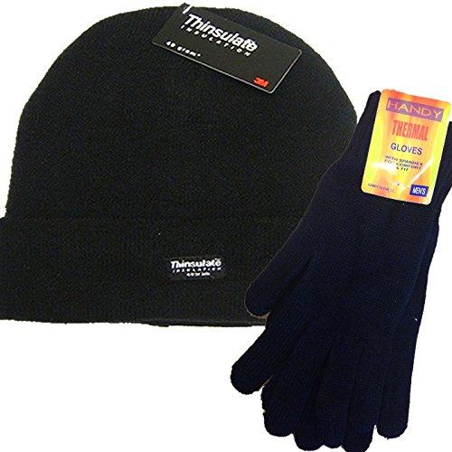 para-hombre-plain-negro-termico-thinsulate-gorro-de-lana-y-handy-guantes-termicos-set