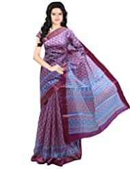 Roopkala Wine Cotton Silk Saree
