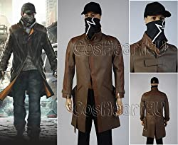 Watch Dogs Aiden Pearce Leather Trench coat cosplay costume