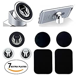 Universal Strong Magnetic Cell Phone Holder for Car or Desktop with 7 Metal Plates for All Your devices, Elegant Mobile Phone Car Mount That Keep Your Device on Place, Start Driving Safer!