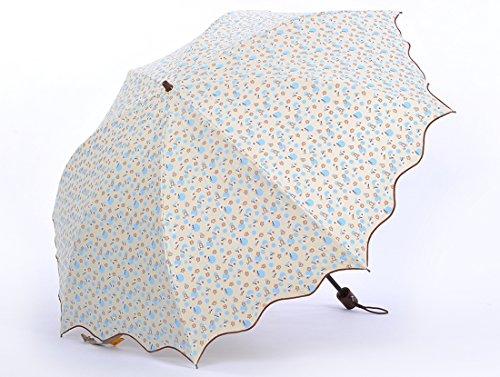 Honeystore-Taschenschirm-2-Falten-Blumen-Sonnnenschirm-Pfefferminze-Rand-Blumen-Gedruckt-Reisen-Sonne-Schirm-Beige