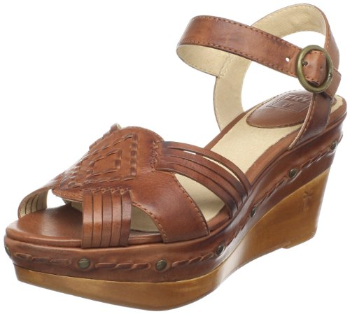 Frye Women's Carlie Huarache Ankle Brown Wedge Heels 73845 7 UK