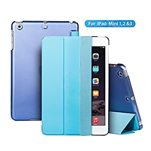 iPad Case,iPad Mini Case,TRAVELLOR iPad Case[Ultra Slim][Ultralight]Slim-Fit Folio Smart Cover & Back Case For Apple iPad Mini 1/iPad Mini 2/iPad Mini 3 (IPad Mini, Blue)