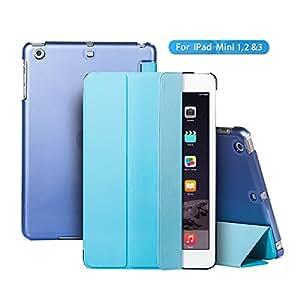 iPad Case,iPad Mini Case,TRAVELLOR iPad Case[Ultra Slim][Ultralight]Slim-Fit Folio Smart Cover & Back Case For Apple iPad Mini 1/iPad Mini 2/iPad Mini 3 (IPad Mini, Blue)