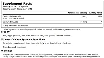 Vitacost Calcium Pyruvate -- 750 mg - 240 Capsules