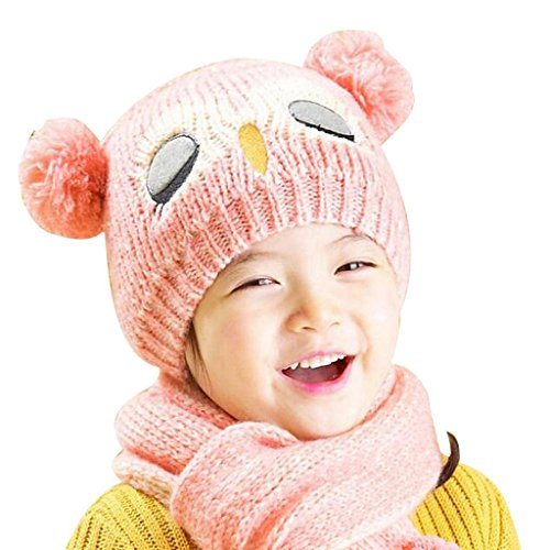 Mikey Store Baby Knit Crochet Toddler Kids Warm Balls Hat Beanie Cap + Scarf (Pink) Crochet Baby Booties Free