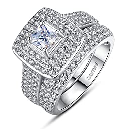 Bamoer 2016 New Arrival Elegant 2 Pieces Square Cushion Cut Solitaire Halo Cubic Zirconia Wedding Engagement Ring Set for Women Men Size 7 to 8 (7)