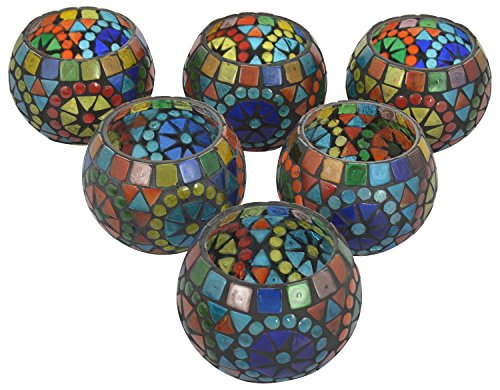 Artisana Glass Mosaic Candle Holder (8.3 Cm X 8.3 Cm X 7 Cm, Set Of 6)