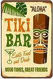"""Aloha Tiki Bar"" 8x12 Metal Sign Made In Hawaii, USA Mahalo Hawaiiian Luau Maui Waikiki Honolulu Beach Party All Weather Sign Welcome"