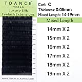 TDANCE Premium C Curl 0.05mm Thickness Semi Permanent Individual Eyelash Extensions Silk Volume Lashes Professional Salon Use Mixed 14-19mm Length In One Tray (C-0.05,14-19mm)
