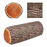 Yosoo Creative 3D Novelty Ginkgo Tree Wood Cushion + Stump Log Throw Pillow for Home Office Car Soft Decor Washable(Pack of 2)