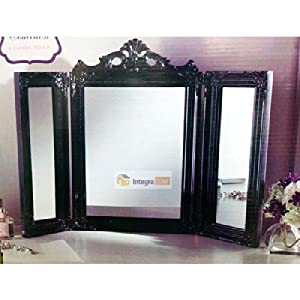 Vintage Black Dressing Table Mirror 3 Section Mirror