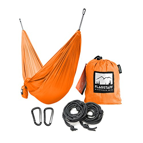 Fremont Camping Hammock - Portable Lightweight Parachute Nylon - Includes Hanging Kit - Heavy Duty Ropes and Carabiners (Orange, Single) (Ultralight Thermal Blanket compare prices)